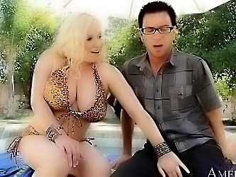 Busty blonde MILF fucks her son's friend
