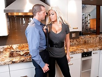Sexy latina Bridgette B bends over the kitchen counter for some big hard cock