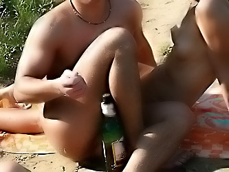 Nudists having fun