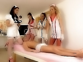 4 nurses involve their patient in CFNM session to make a sperm test