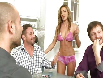 Alice takes a poker of cocks in her ass hole