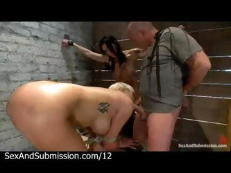 Bound babes blowjob and toy by master