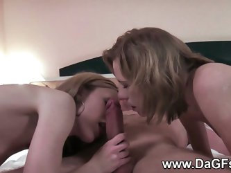 Hot girls threesome cum swap