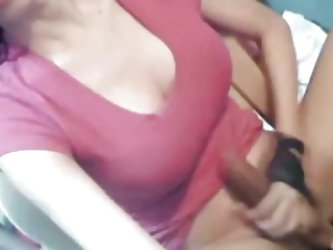 Big Breasted Tranny Masurbating her Cock