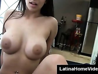 Shaved latina pussy riding my dick at home