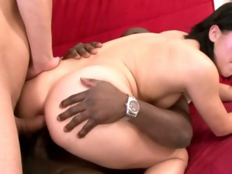 Chubby brunette lucy double dipped in ass