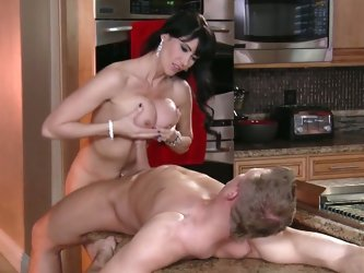 Busty mom ass fucked in the kitchen