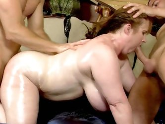 Fat redhead milf handle two erected man meats