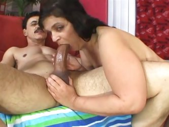 Chunky mature gets banged by a younger stud