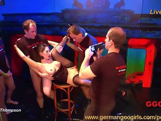 Jizz addicts in wild gang bang action