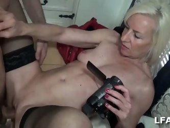 Amateur granny gets young cock in france