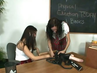 Two hot college girls have fun time