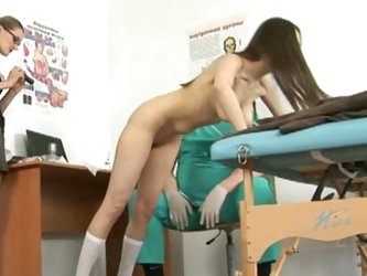 Nasty gynecologist and hot young lady