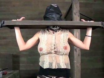 Blonde with fucking machine in bondage