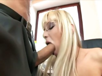 High society blonde secretary drilled in office