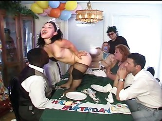 Naughty midget fucked by horny clown on table