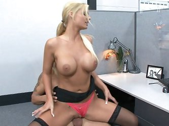 Sexy blonde Phoenix Marie cock rides her coworker