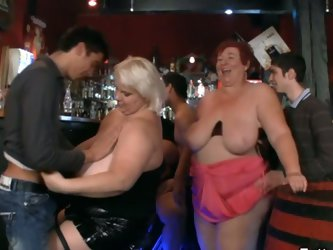 Greasy party with horny bbw fuckers in the club