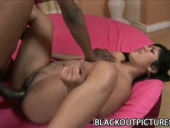 Enormous black cock stuffing naught asian