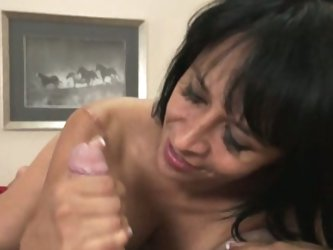 Brunette stepmom's helping handjob
