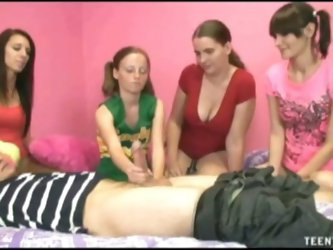Ex teen girlfriend gives handjob with friends
