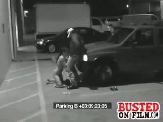 Parking lot blowjob for the security guard
