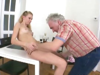 Nasty old daddy licking tight young cunt