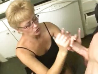 Mature blonde milf milking thick young cock hard