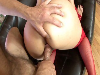 Brunette christmas slut with big tits fucked
