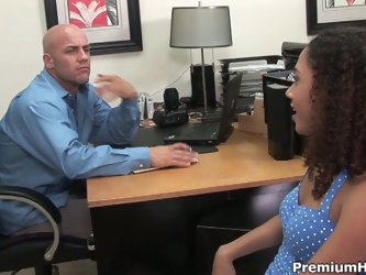 Hot slutty interviewee sucks hunk interviewer