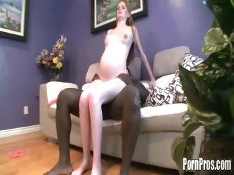Pregnant babe Evie takes black dick by surprise