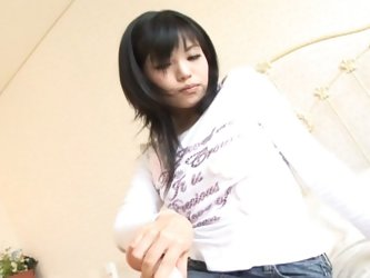 Sweet japanese slut self sex session with filthy dildo