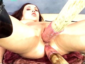 Nasty brunette gets her holes filled hardcore