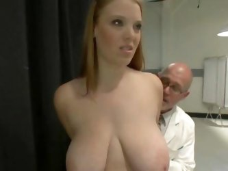 Busty chubby redhead fails a medical exam and gets punished with extreme spanking