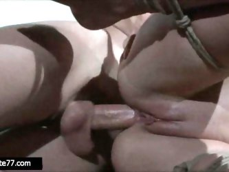 Tied up girl gets nipple clamps and pussy clamp