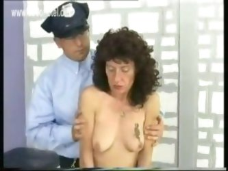 Scared looking slave is pulled on her nice boobs and nipples and spanked her ass while she shows her pussy