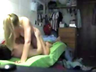 Horny blonde GF with perky tits fucked in her dorm room