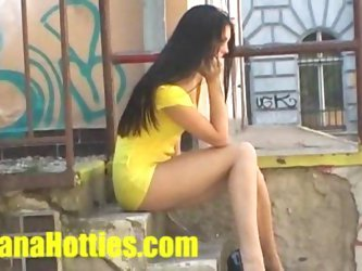 Upskirt pussy at the public street