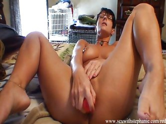 Beautiful pussy oozes juice all over dildo