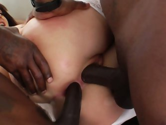 French brunette gets dped by two hung black studs
