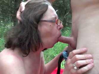 Dirty granny ass fucked outdoors