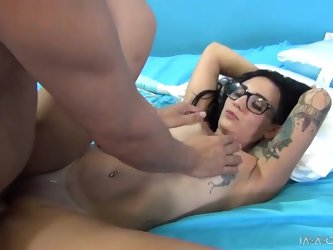 Aimee Black toyes her cooch and gets it fucked in many positions