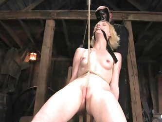 Skinny Alexa Lynn gets toyed and tortured in a barn
