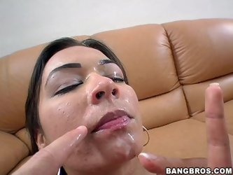 Brunette Crissy Moon Sucks and Gets Fucked by a Big Fat Cock