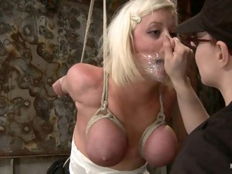 Breast bondage and suspension for a lusty blond Cherry Torn