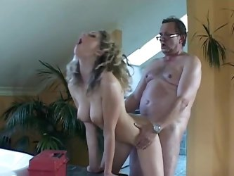 Sweet Nicole is sucking a hard old dick