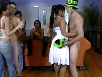 Brazilian housewives dancing with naked studs