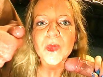 Slutty blonde being covered with juicy sperm