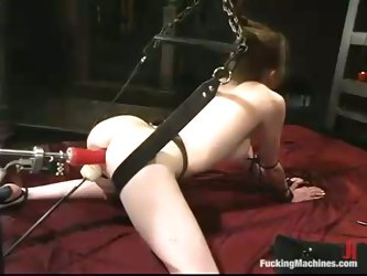 Nicole Scott gets her ivory pussy drilled by a fucking machine