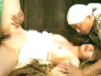 Mature japanese fucked in group in a barn